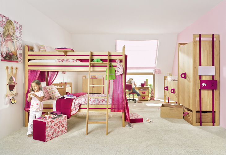 Pine Pink Girls Bedroom Furniture Interior Design Ideas