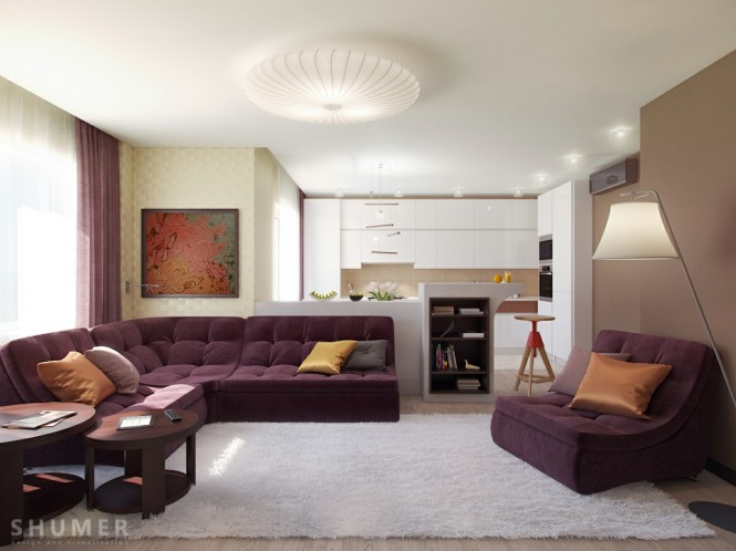 Plum White Taupe Living Room Scheme