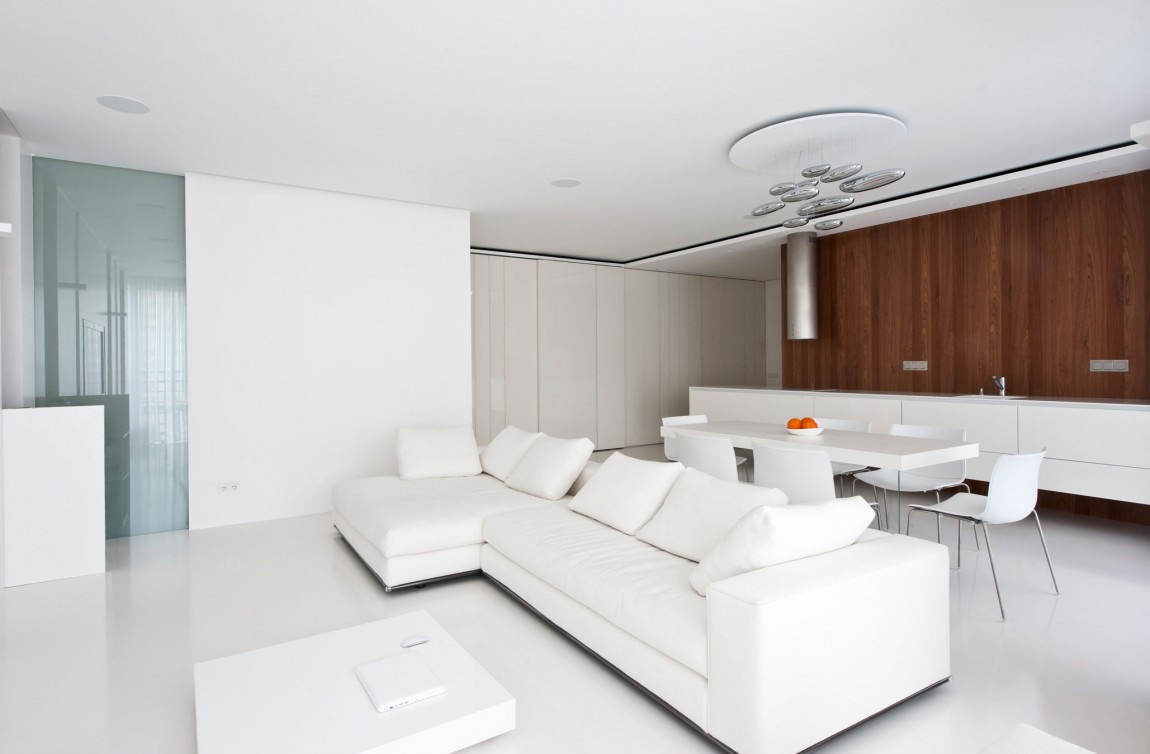 Modern Living Room Small Space: Apartment Awash With Walnut & White