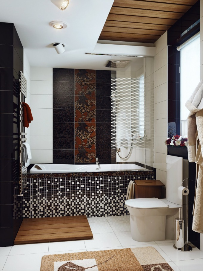 Black White Brown Bathroom Interior
