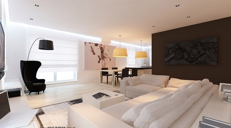 Brown White Lounge Decor Interior