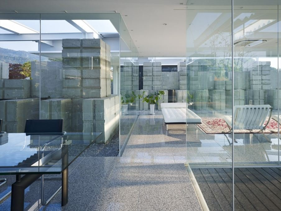 Concrete Stack And Glass House