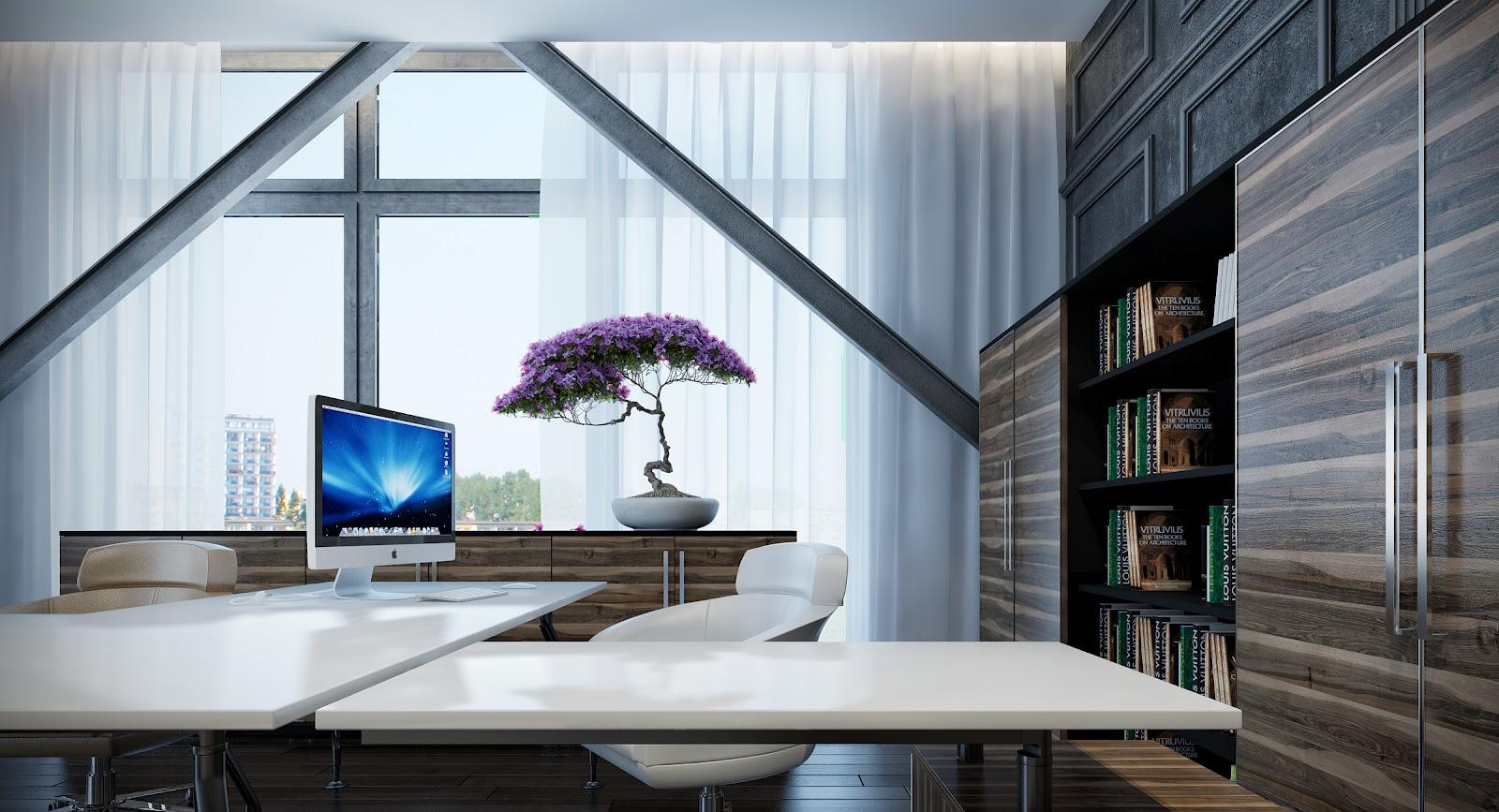 Office Furniture: Bonsai In Interior Settings
