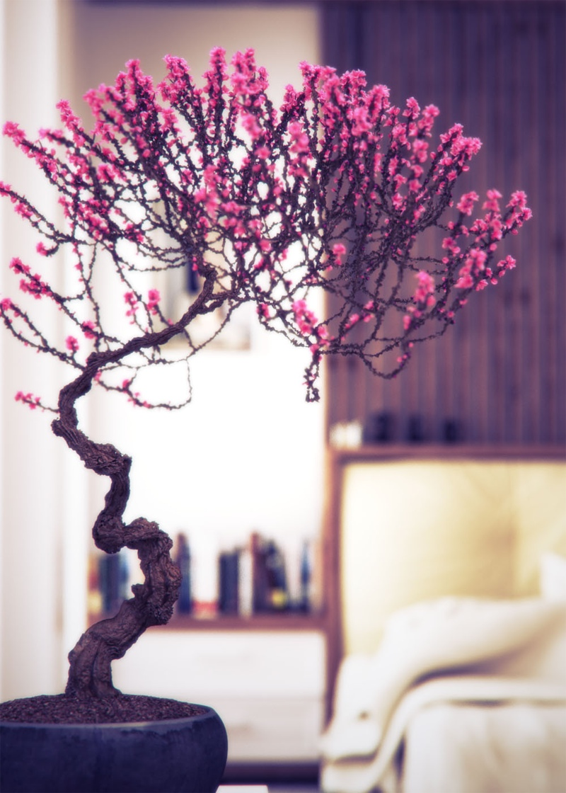 Pink Bonsai Treeinterior Design Ideas