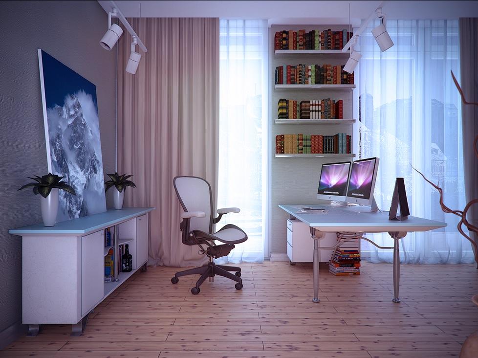 White Home Study Room Interior Design Ideas
