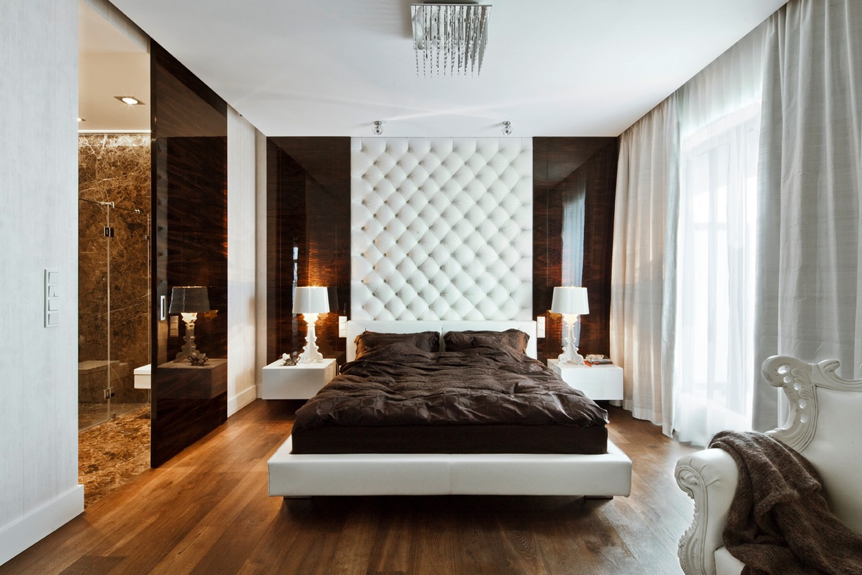 sleek and sumptuous poland apartment 12547 | 3 white brown bedroom