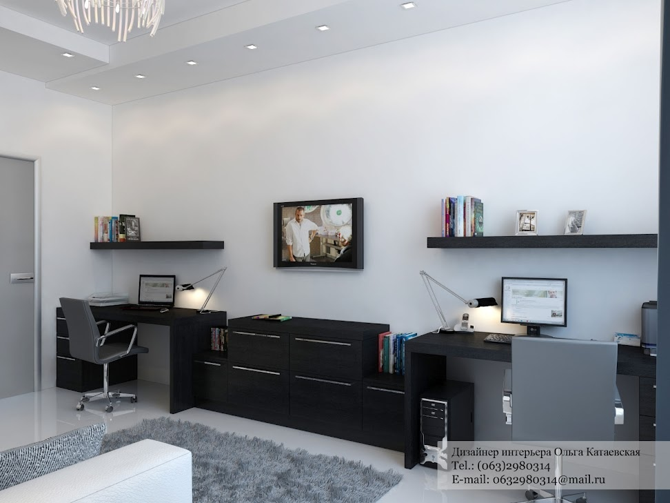 Black Desk Twin Office Interior Design Ideas