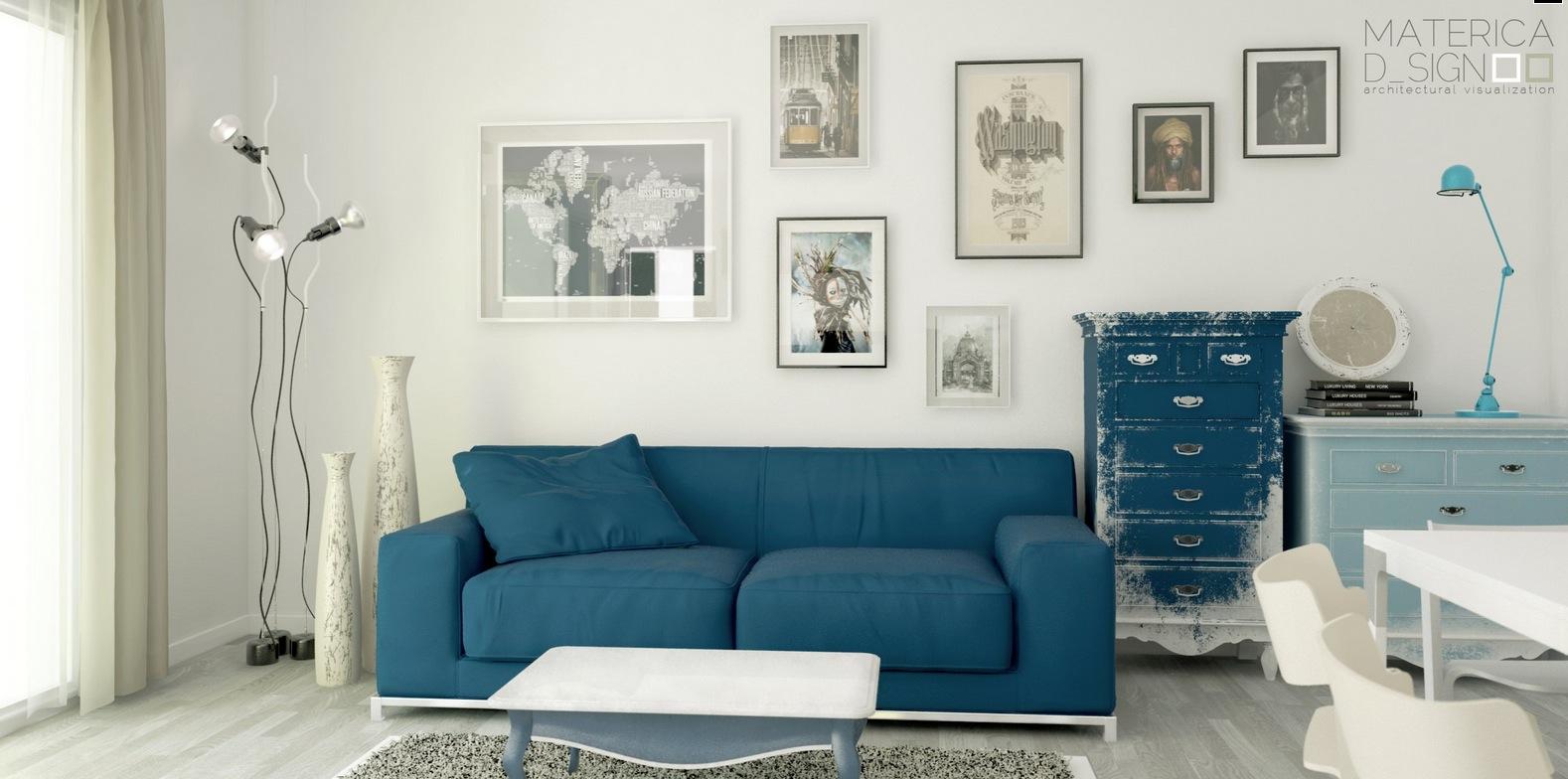 Blue sofa distressed dresser | Interior Design Ideas.