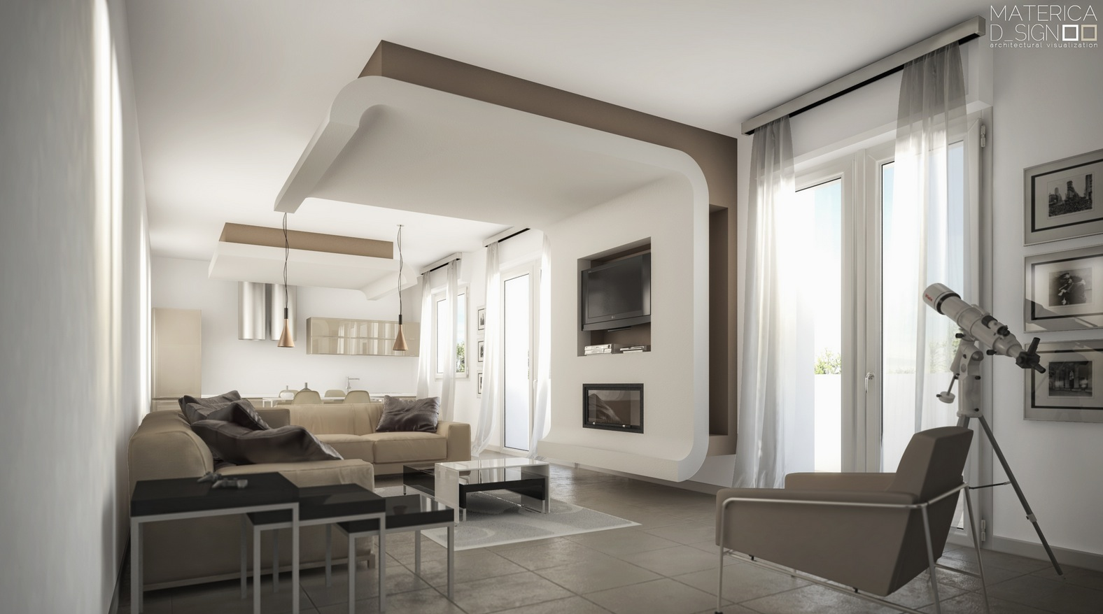 taupe and white living room modern style architectural renders 19665