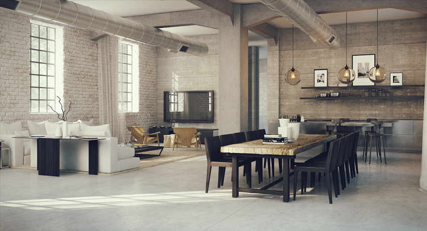 industrial lofts. Black Bedroom Furniture Sets. Home Design Ideas