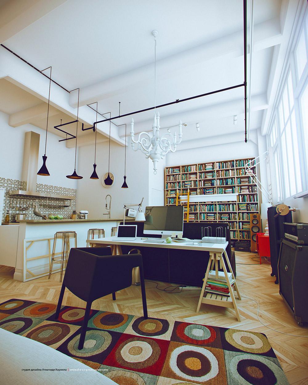 cool studio apartment.  White Studio Apartments