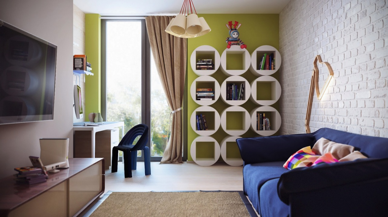 Children S And Kids Room Ideas Designs Inspiration: Green White Kids Room Round Bookshelves