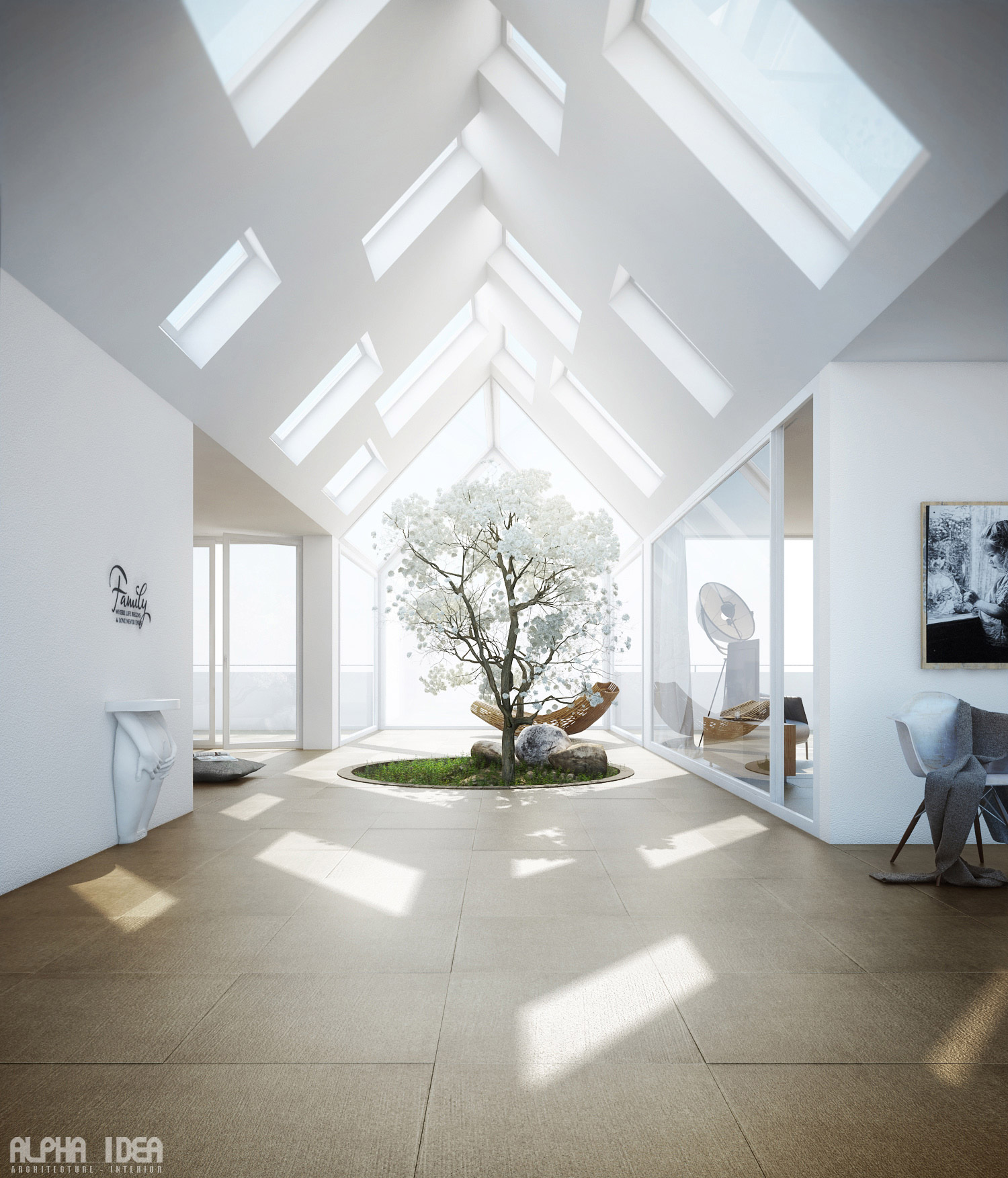 20 Trendy Ideas For A Home Office With Skylights: Unique Home With Skylights And Central Courtyard