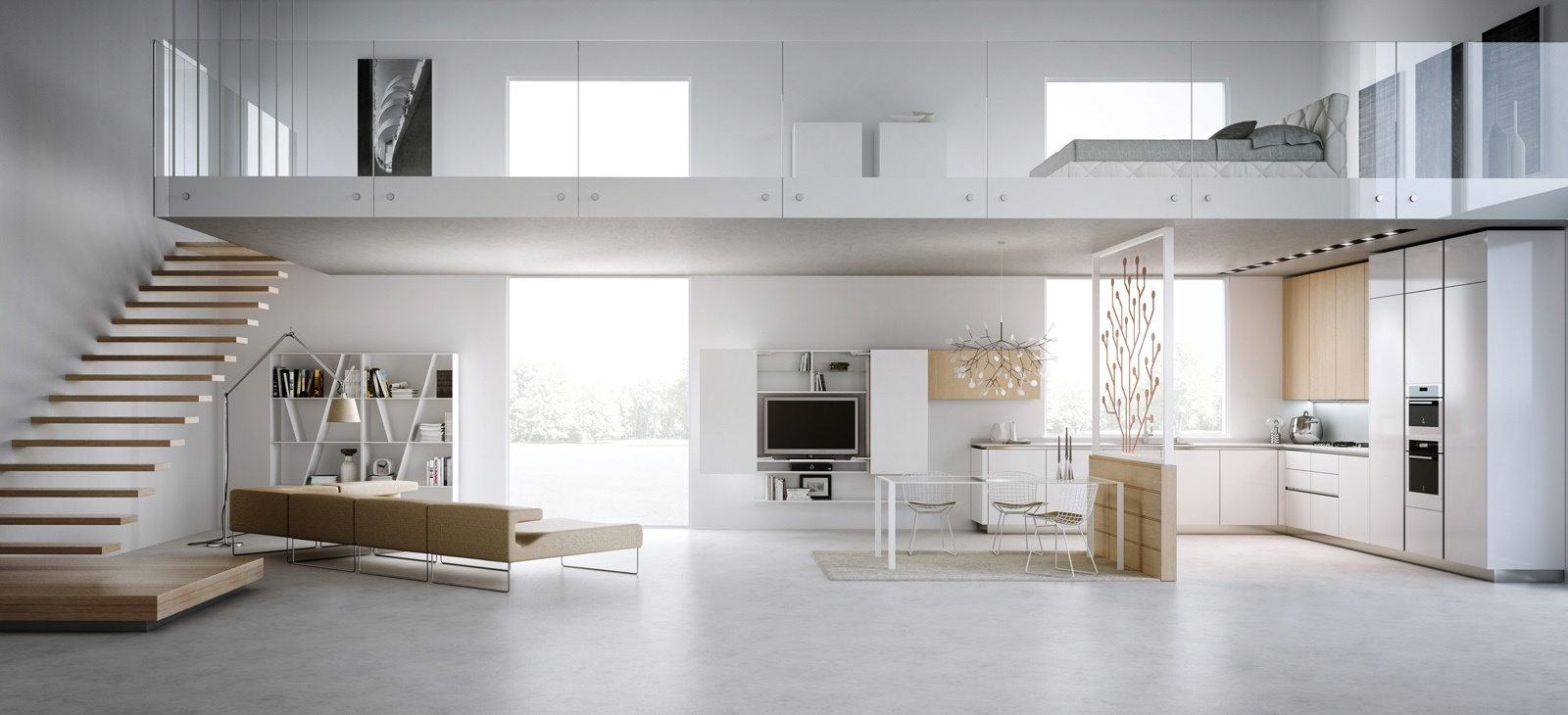 Modern loft layoutInterior Design Ideas.