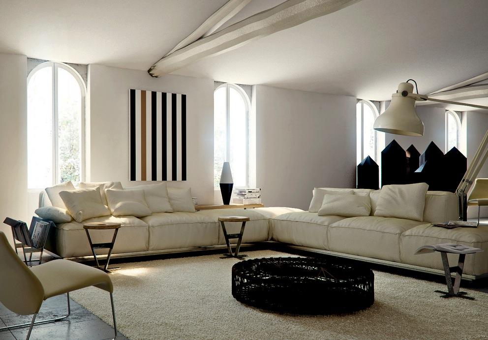 Cream sectional sofa | Interior Design Ideas.