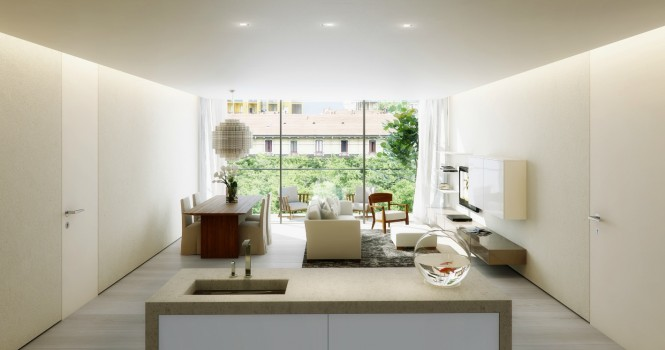 The perspective on this open plan apartment leads the eye straight out to the view at