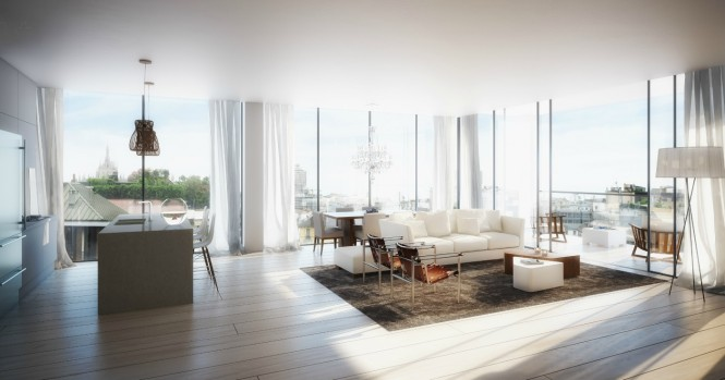 A hazy illumination gives this apartment a heavenly glow promoting the feeling of soothing relaxation
