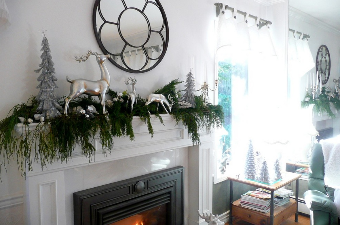 Evergreen garland mantel decor interior design ideas - Modern christmas mantel ideas ...
