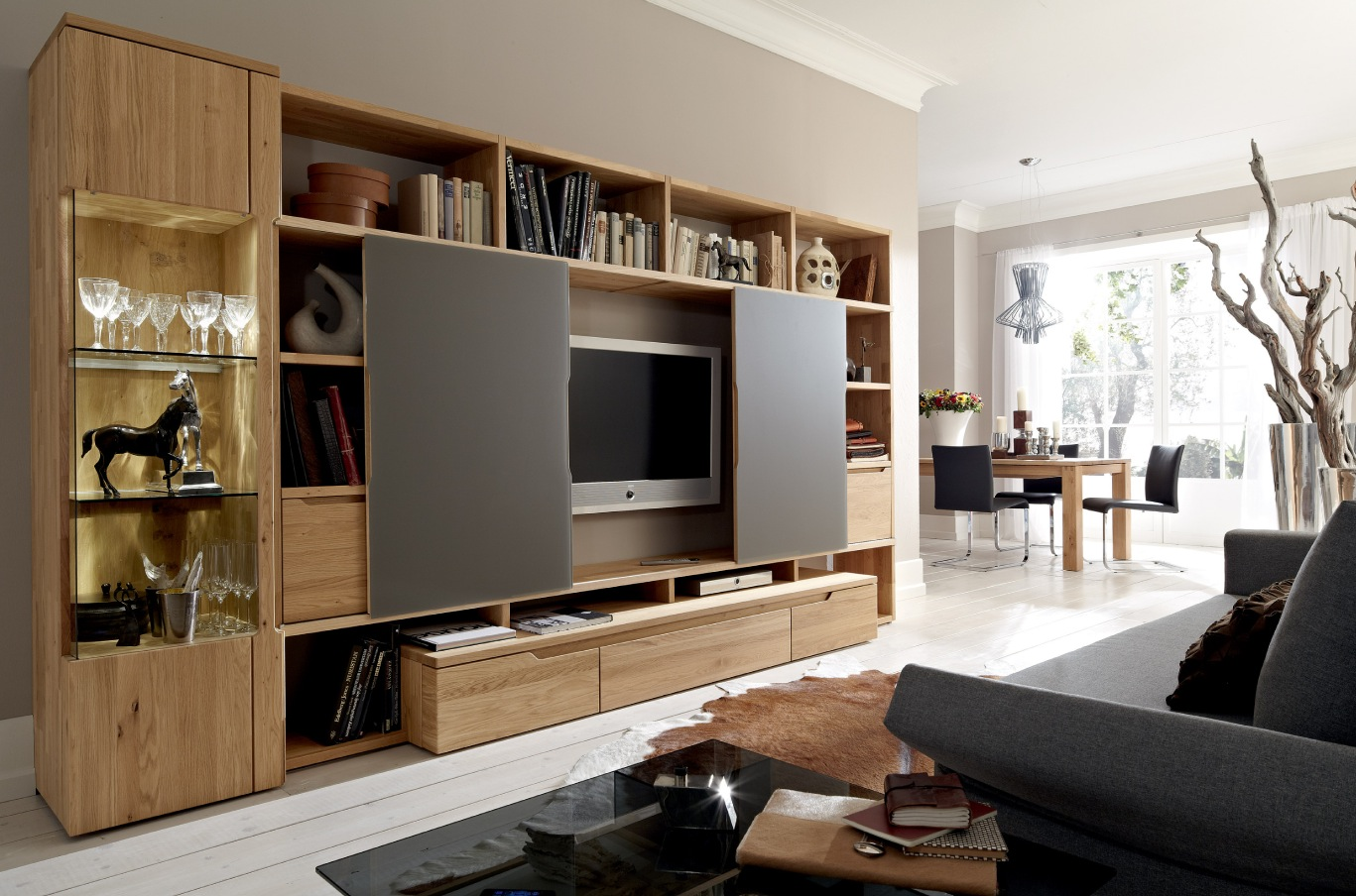 ideas to cover textured ceilings - Wooden Finish Wall Unit binations From Hülsta