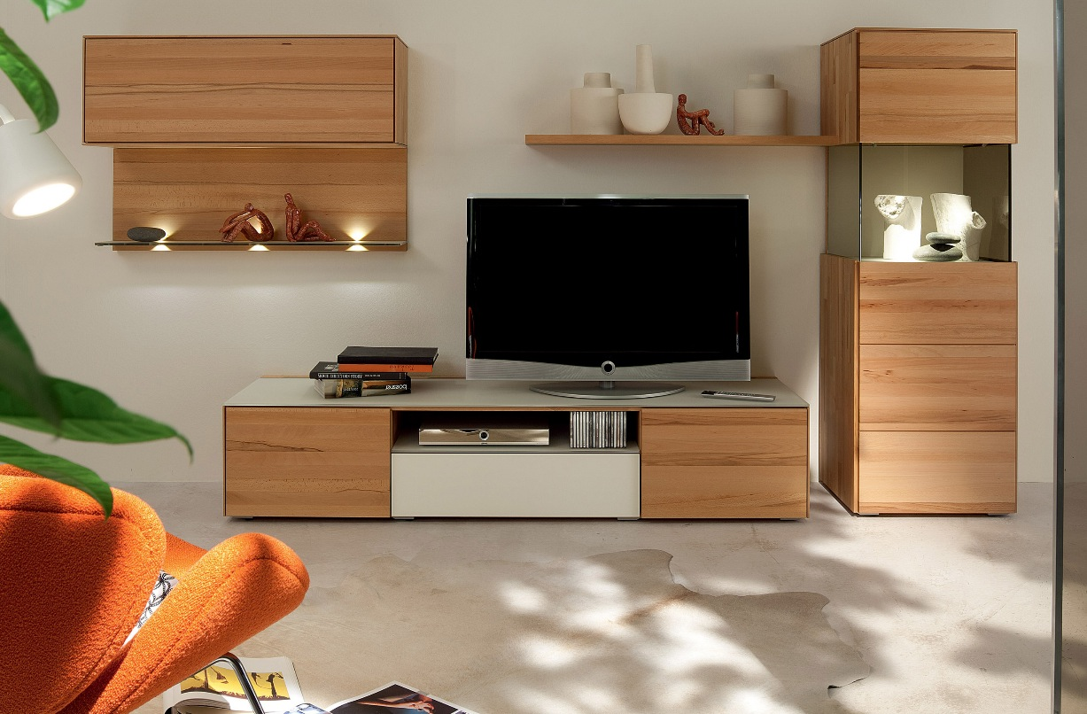 Tv And Media Wall Units: Wooden Finish Wall Unit Combinations From Hülsta