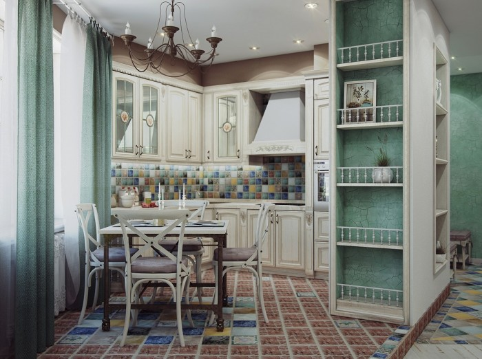 The designer utilized an odd shaped small space most effectively while creating an eat in