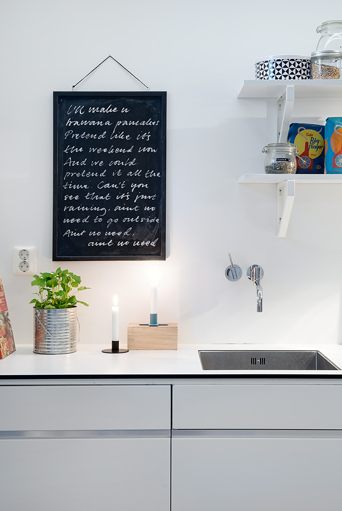 Swedish apartment boasts exciting mix of old and new modern kitchen cabinets white