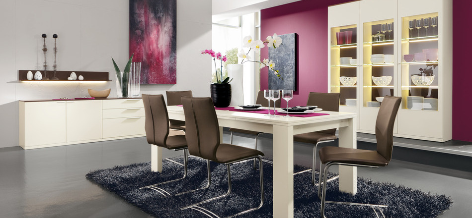 Modern Pink Dining Room Interior Design Ideas