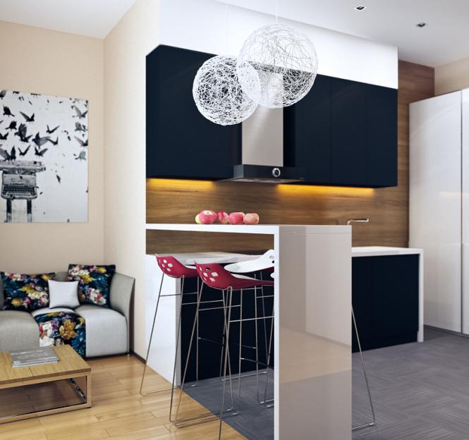 22 Beautiful Kitchen Design For Loft Apartment: Small Modern Loft Kitchen With Bar