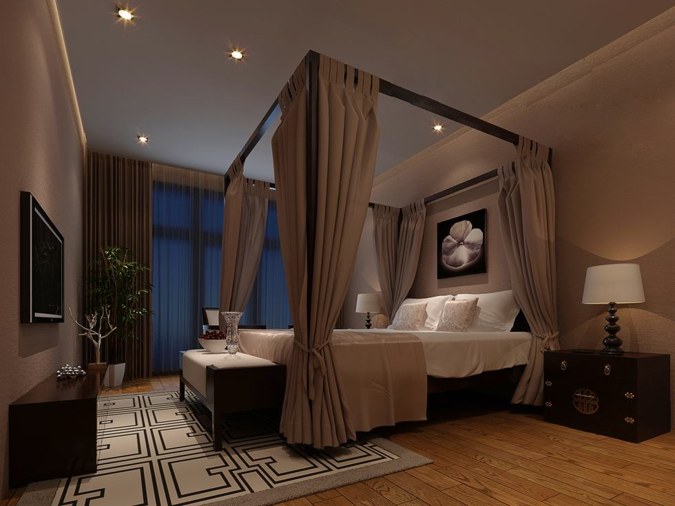 Orchid And Taupe Chinese Moody Bedroom Interior Design