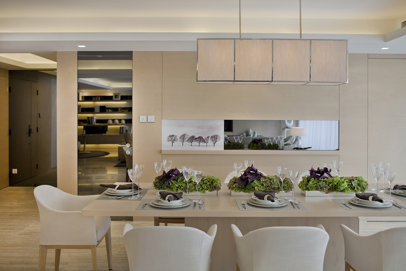 Subtle Mulberry And Cream Accessorized Modern Dining Steve