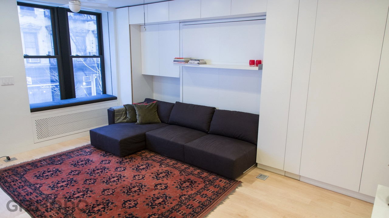 Tiny transforming apartment in new york - Tiny house living room ...