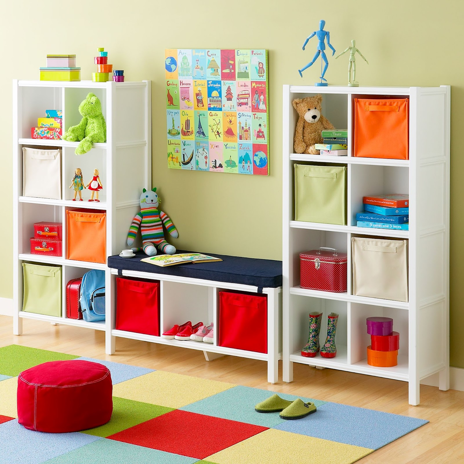 Colorful Playroom Design: Cube Storage In Primary Colors Child's Playroom