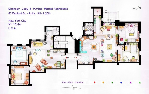 Chandler and joeys s apartment floor plans