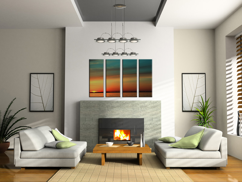 Neutral Living fireplace segmented sunset skyline painting