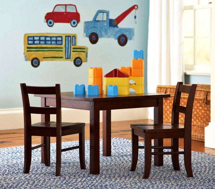 Pottery Barn Child S Room Table Chairs And Truck Wall