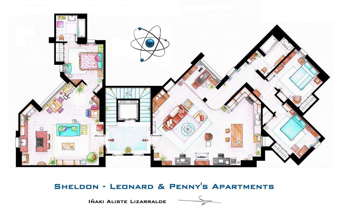 The Big Bang Theory Sheldon Leonard And Penny S Apartment Floor