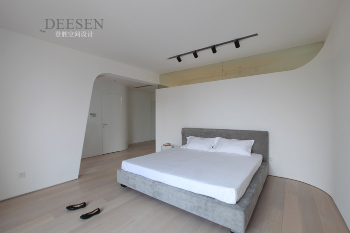 Bedroom Sleek And White With Rail Lighting Interior