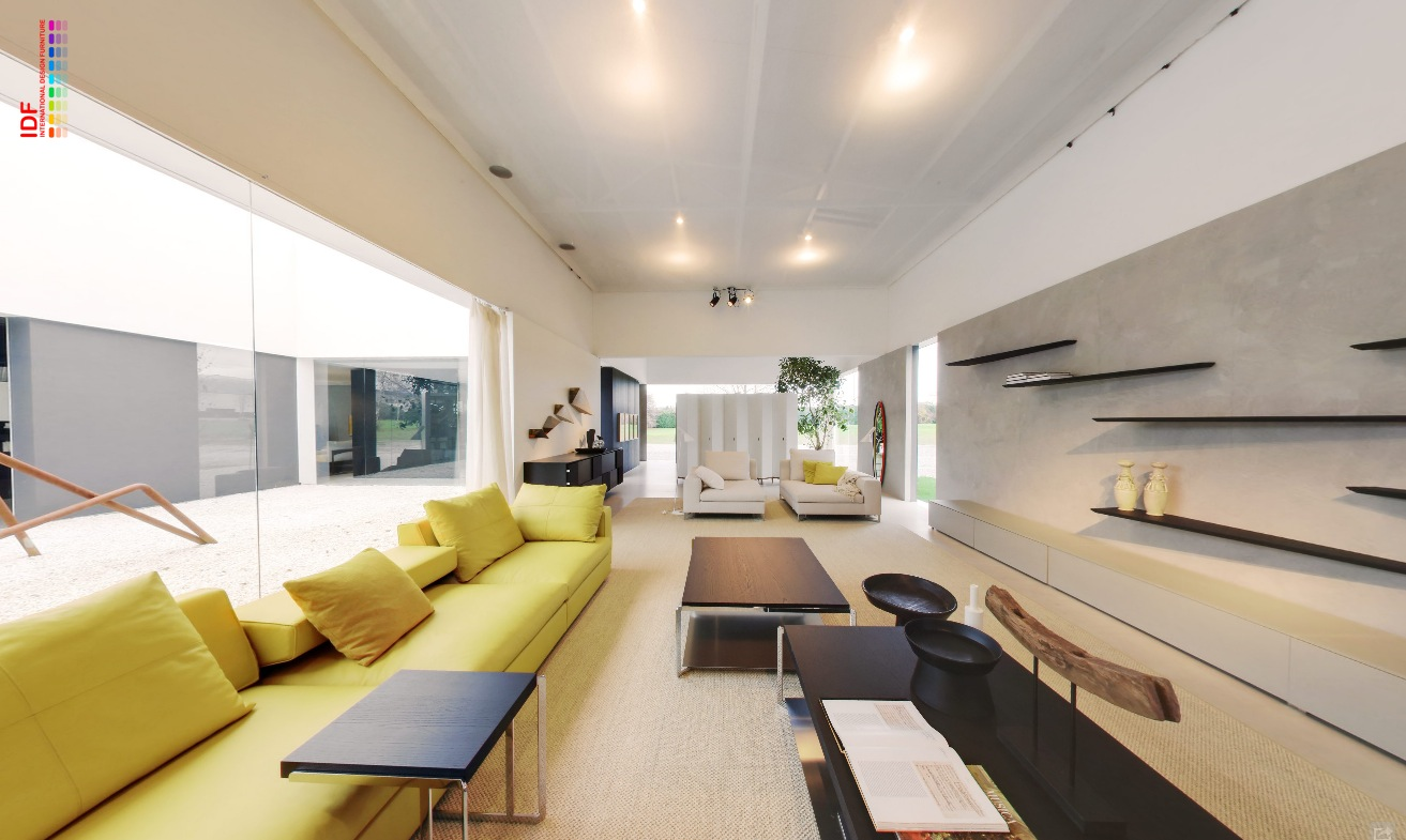 Bright Modular Lounge With Coffee And Trat Tables Ambient Lighting