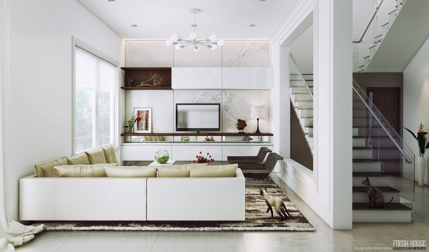 Creative Living Room: Modern White Living Rooms