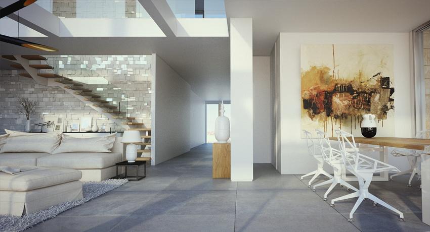Duplex Apartment Dining Living Space Interior Design Ideas