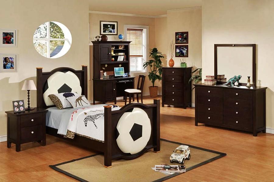 football monochrome and darkwood boys room  interior