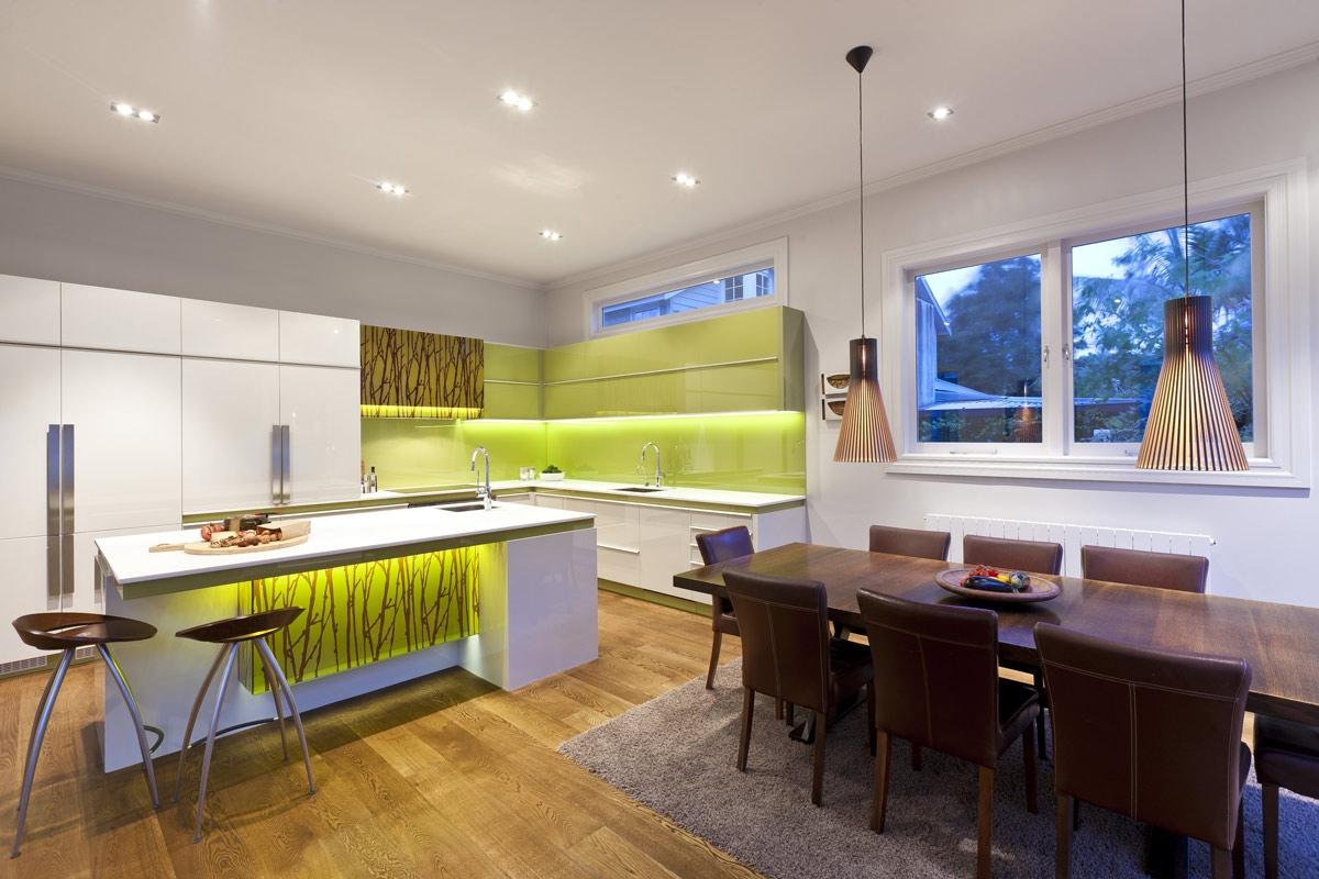 Green And White Modern Kitcheninterior Design Ideas