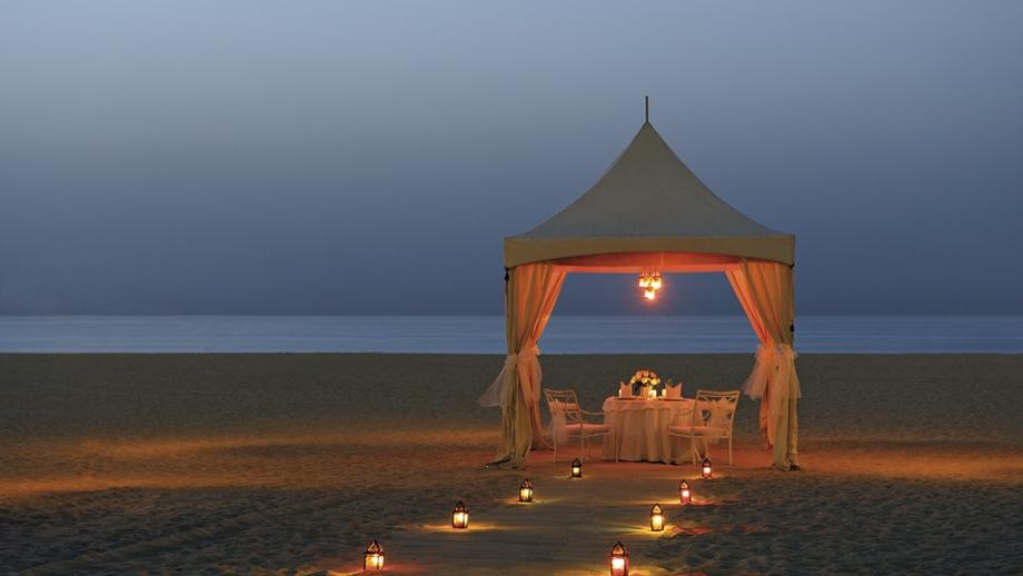 Lantern Lit Beach Dinner Beneath White