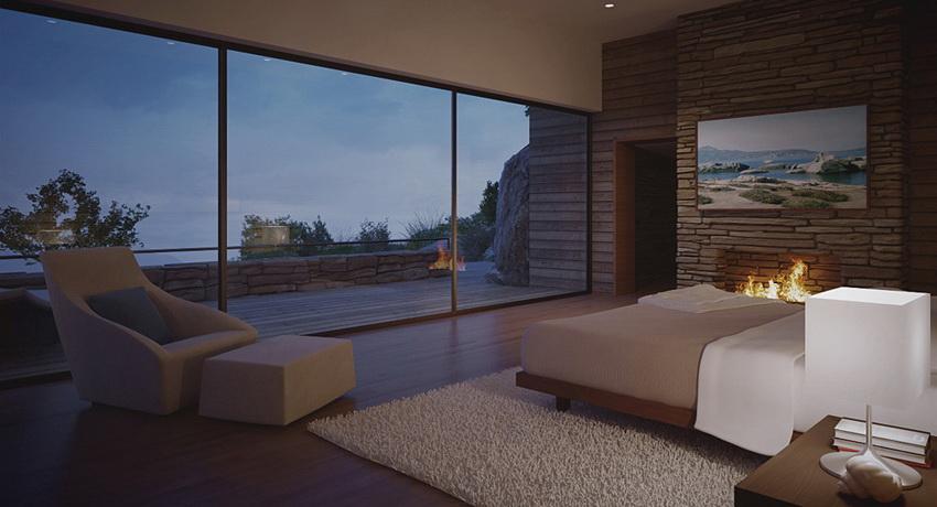 modern bedroom by fire light | Interior Design Ideas.