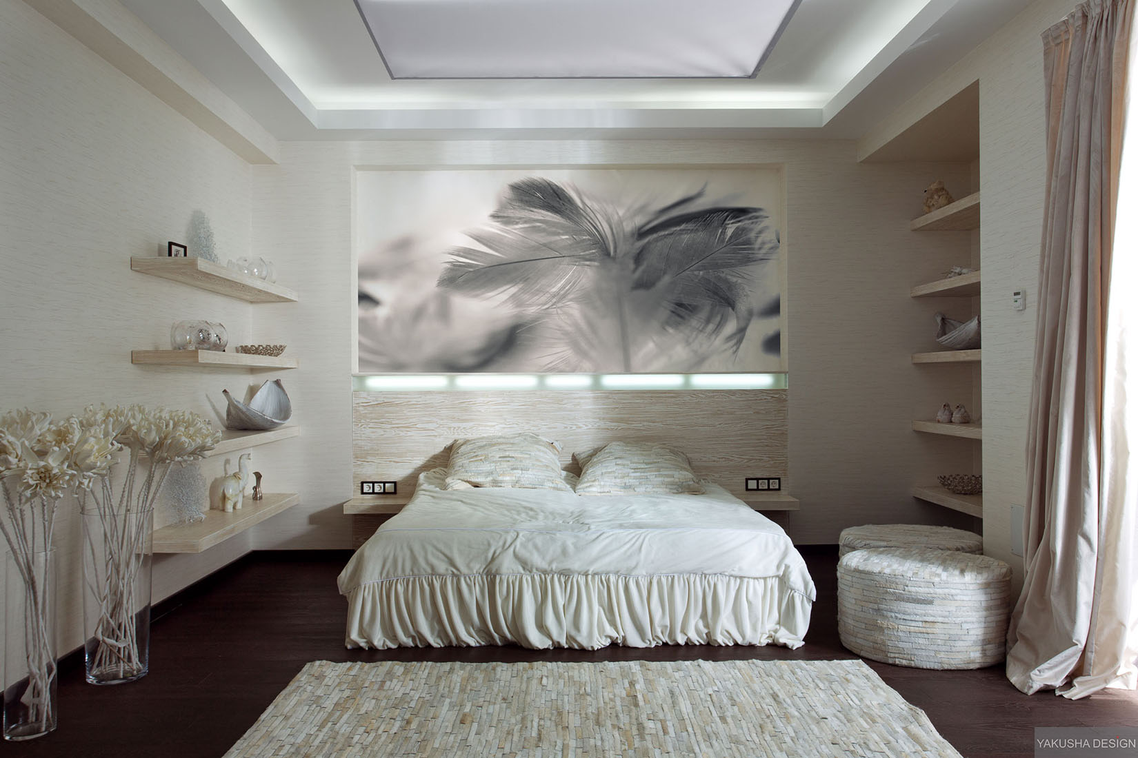 Textured White Bedroom With Collectables Displayed On Shelving With Feather Print And Textured Ruginterior Design Ideas