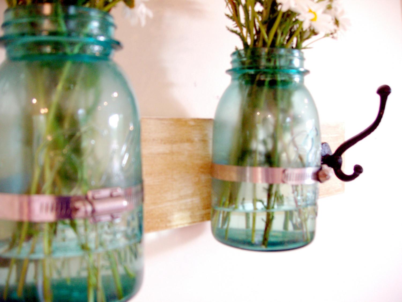 Wall Mounted Florals On Rack Blue Jars White Daisiesinterior Design Ideas