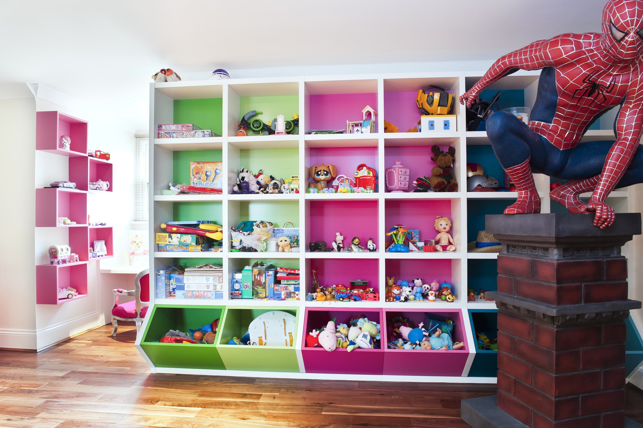 White Attic Stule Child Sroom With Pink And Green Storage Cubes Spiderman