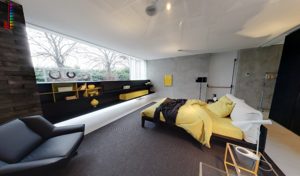 The glass house displaying furniture in natural settings - Black and grey bedroom furniture ...