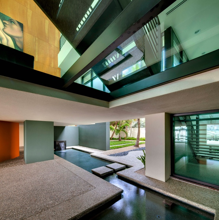Modern Asian Luxury Interior Design: DWY Landscape Architects- Angular Water Feature Pool That Drags The Outside In