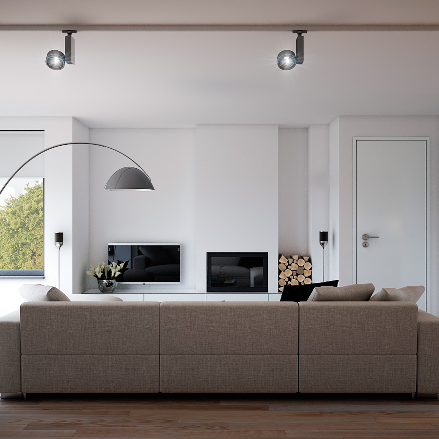 Indulgent grey apartment- neutral couch minimalist fireplace ... on rail track lighting systems, rail lighting pendant, rail track lighting led wall, rail lighting kits, rail mounted track lighting,